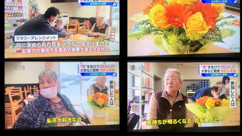 テレビユー福島「Nスタふくしま」で、花を利用した認知リハビリテーション体験会の模様を放映