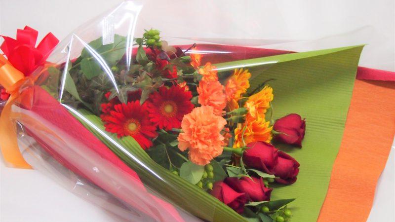 【誕生日】赤オレンジのワンサイドブーケ