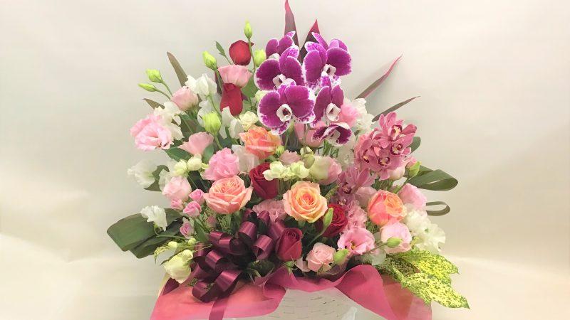 【お祝い】バラと蘭の豪華アレンジ